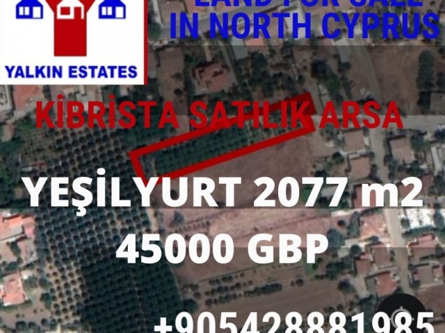 Land for sale 2077 m2 in Yeşilyurt,  5 min to Lefke University! Best Price